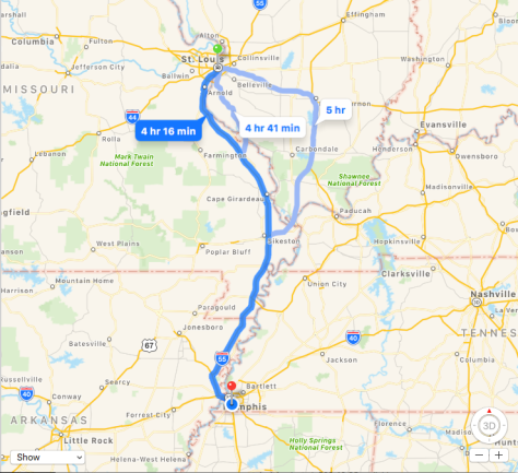St. Louis to Memphis Map
