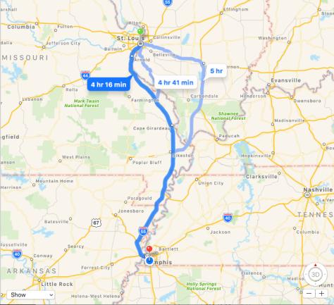 St. Louis to Memphis Map